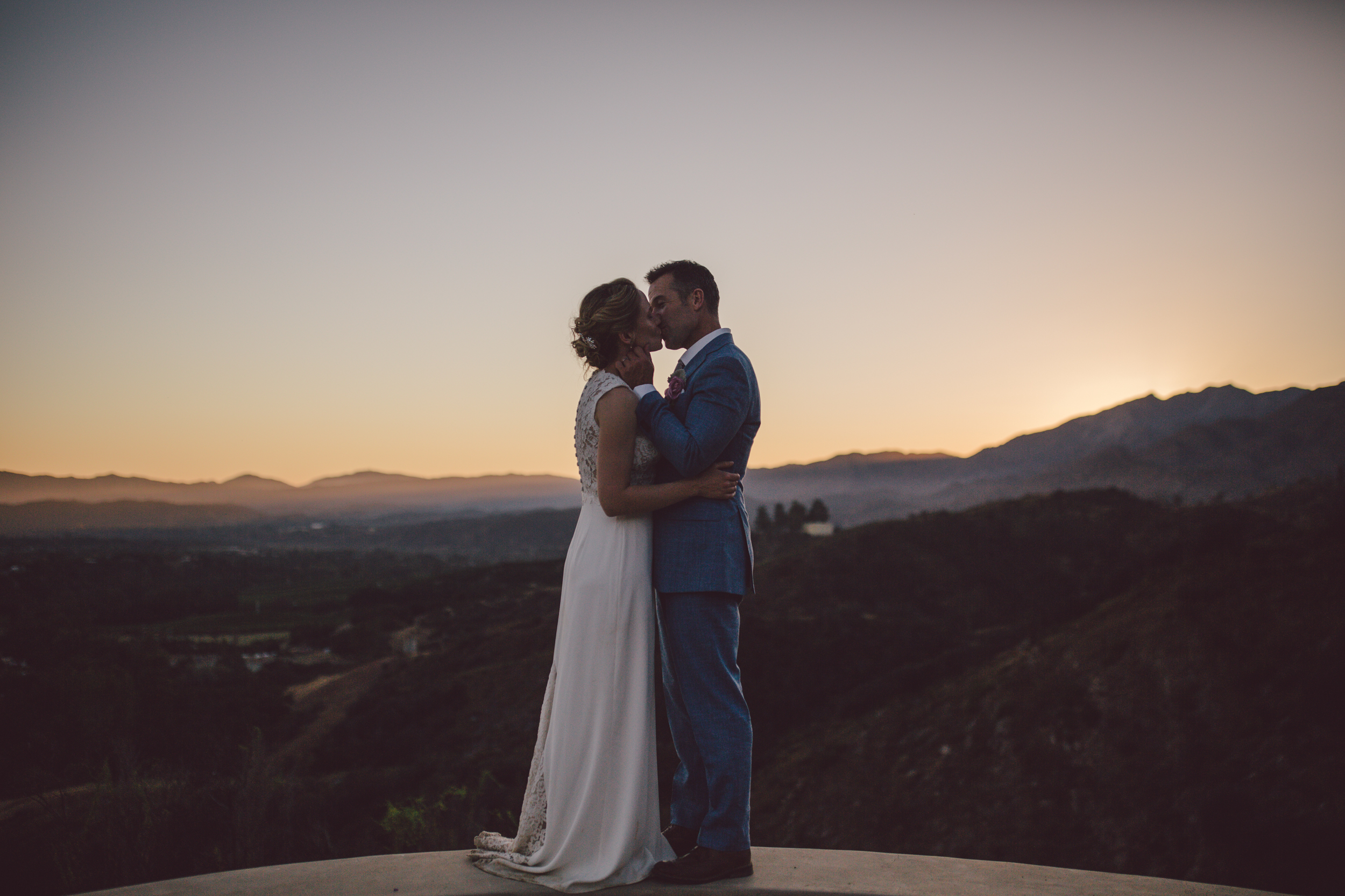 ojai sunset mountain intimate elopement wedding