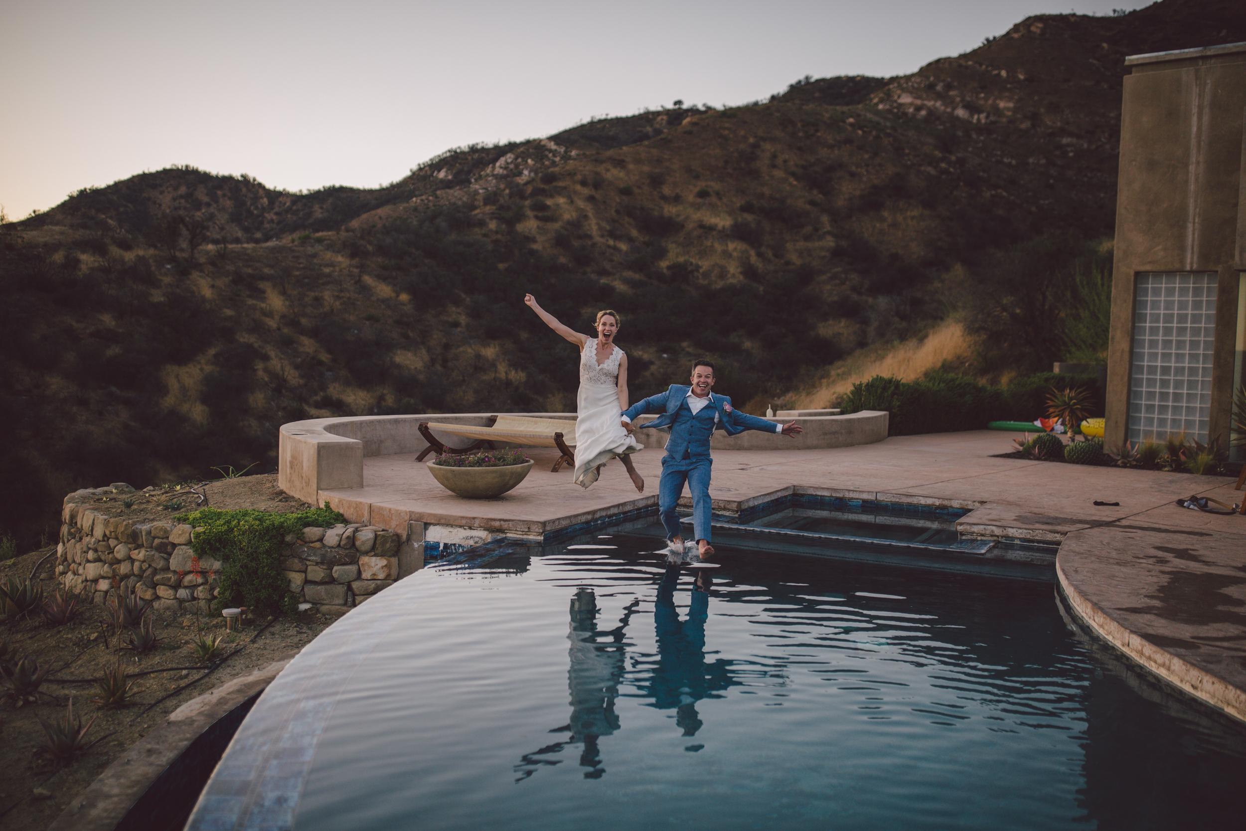 ojai elopement mountain estate wedding sunset pool