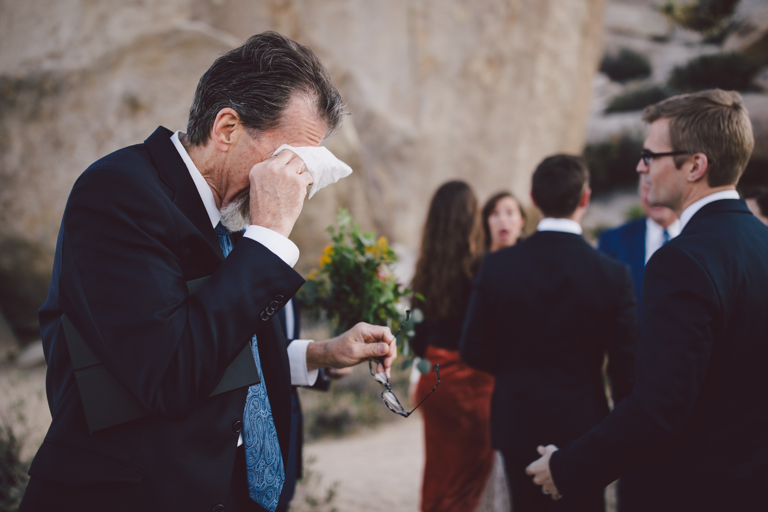 dad crying joshua tree emotional wedding intimate elopement christian