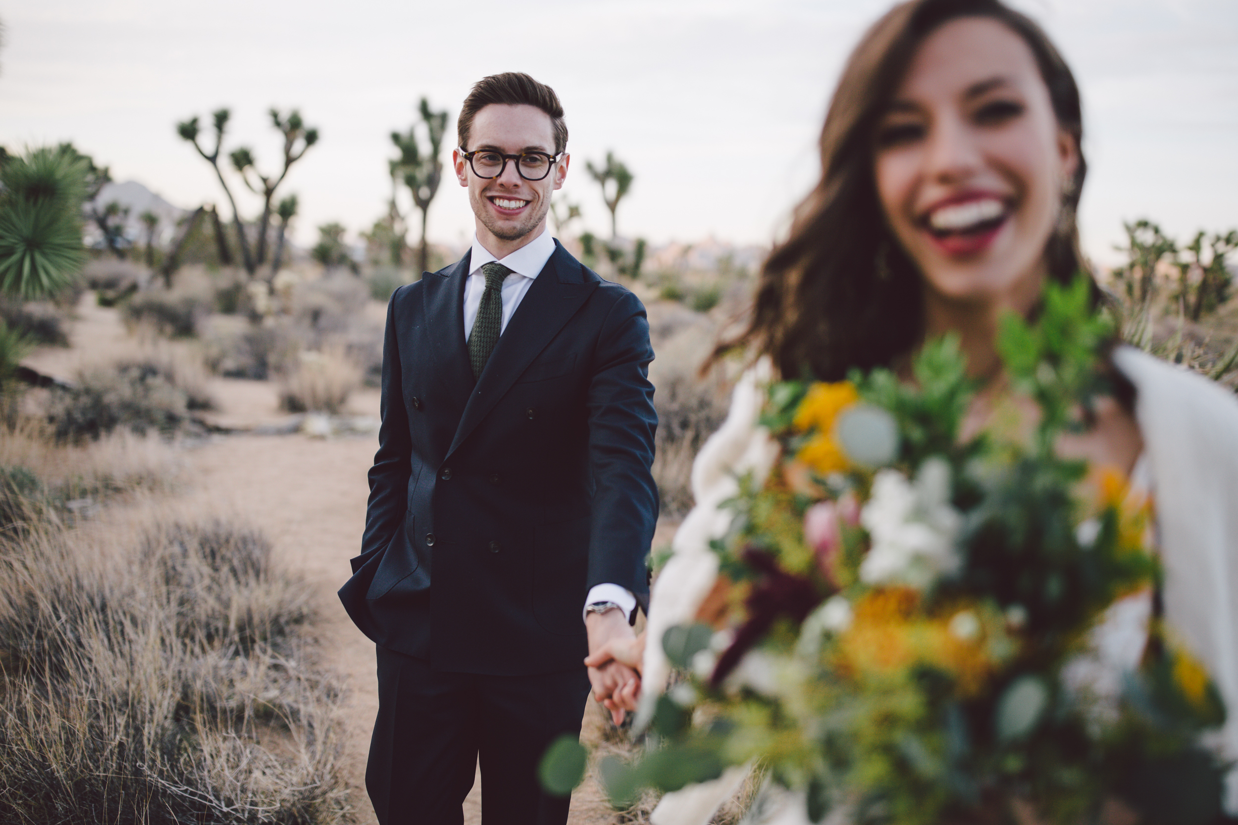 hipster couple joshua tree national park elopement