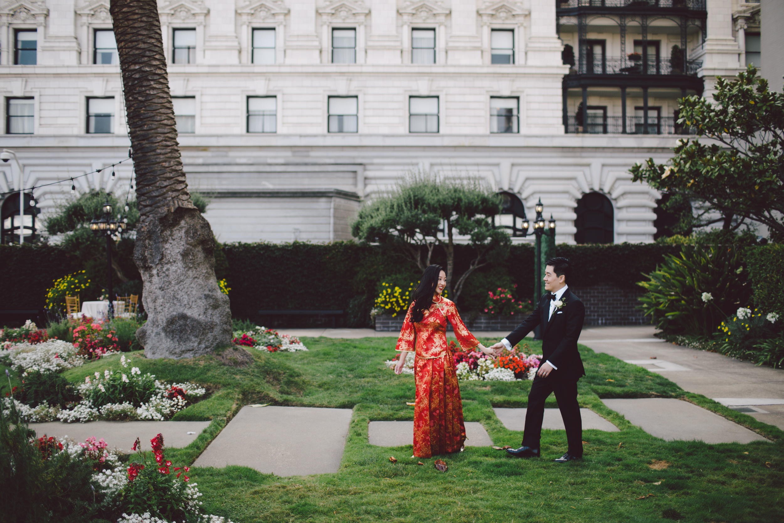 chinese fairmont hotel wedding outdoor san francisco