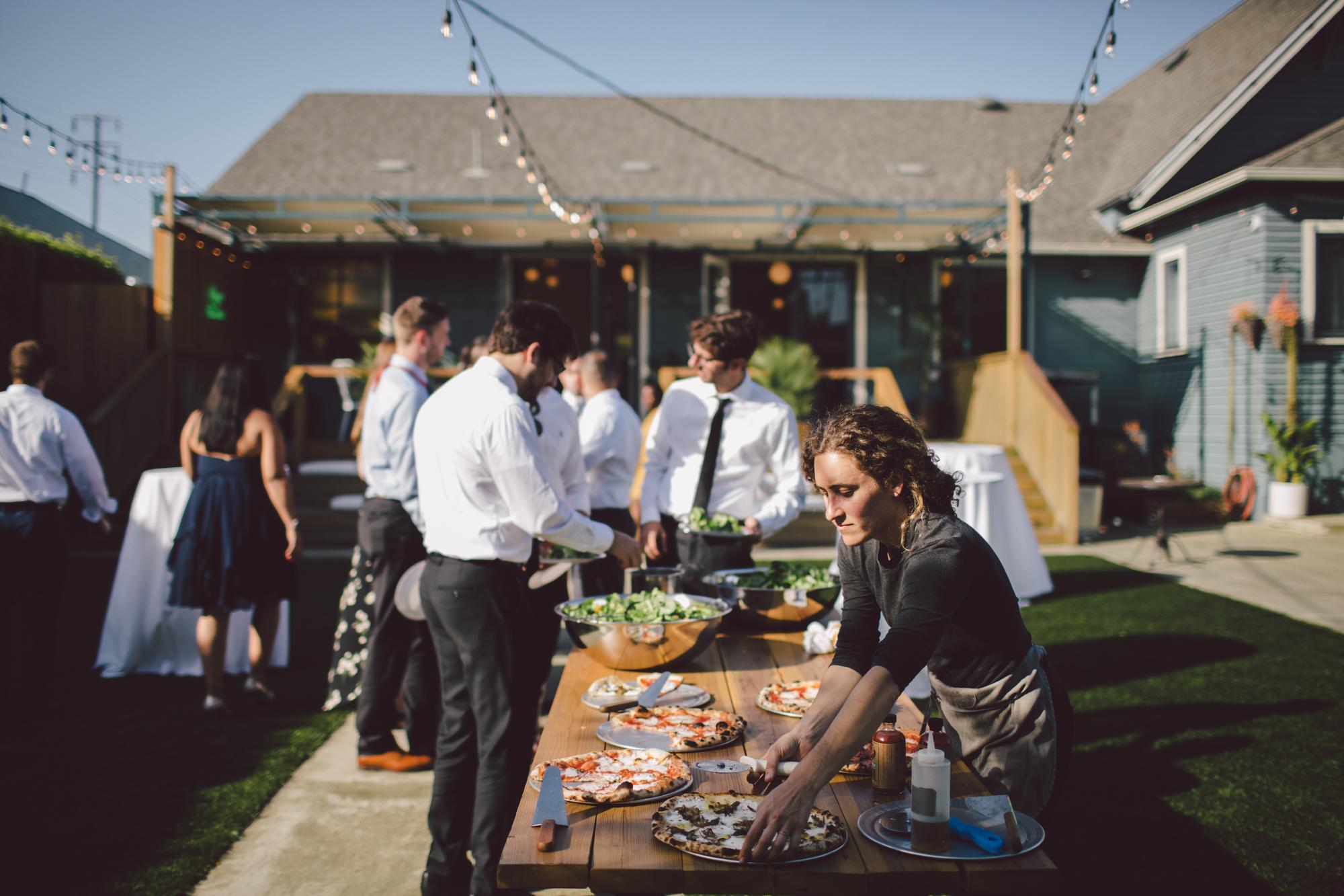 outdoor ceremony-los angeles-cool wedding venue-pizza
