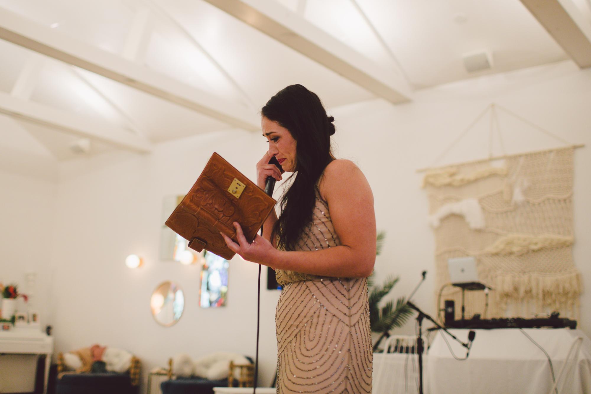 speech-bridesmaid-outdoor ceremony-los angeles-cool wedding venue-ruby street