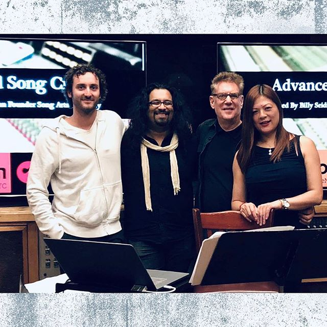 "(2/3) • What would YOU want to learn most about in a songwriting Workshop with Song Arts Academy? Let us know! Whether it's tools for writing, music production, etc. 🤔 • Pictured here (L to R): Dav Abrams, Technical Dir.; SAA, Arjun Roy; Dir. of Education BerkleeNYC/PowerStation, Me; Founder SAA, Qian ""CC"" Liu; SAA Production Assistant • #fbf #songwriting #berkleenyc"