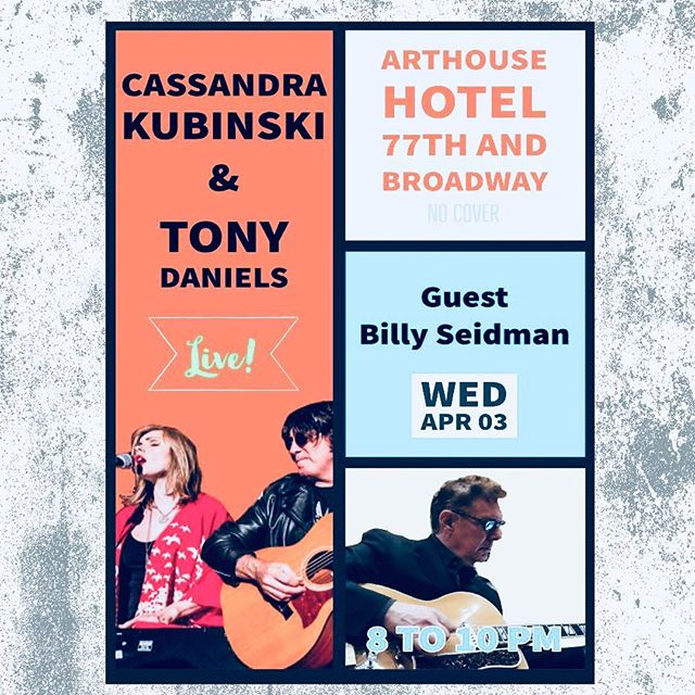 This time next week we'll be amping up for this live set at Arthouse with Song Arts Founder, Billy Seidman!! Who's coming?? • #nycmusic #arthouse #SongArts