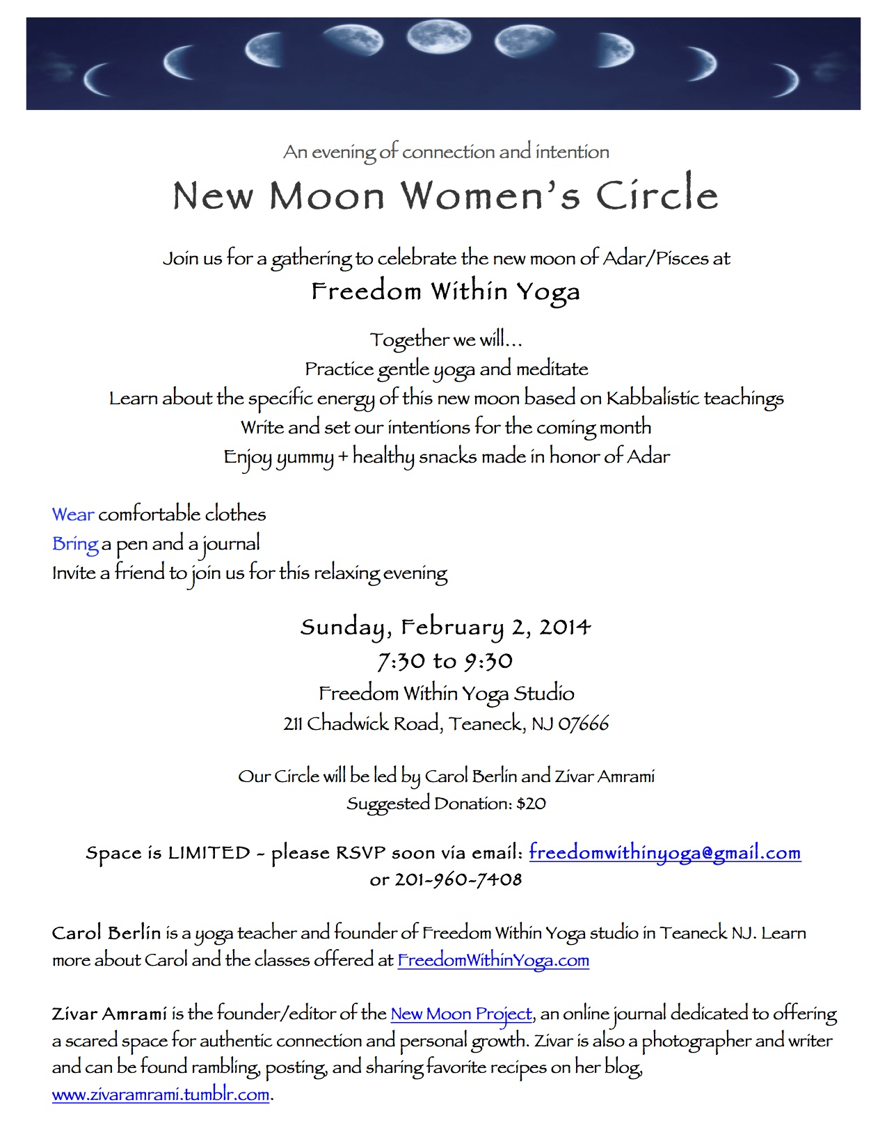 February 2014 New Moon Women's Circle — Freedom Within Yoga