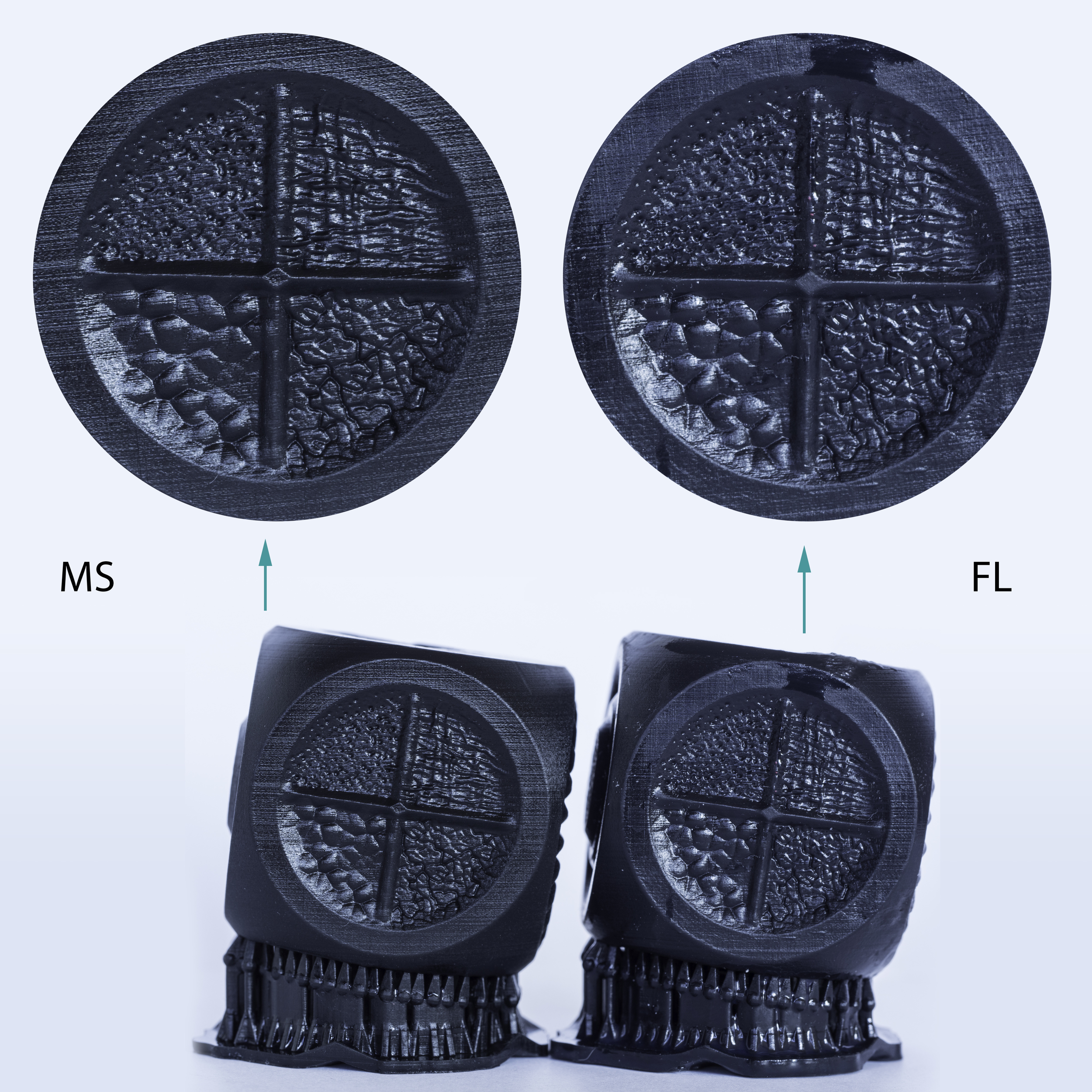 Surface details of the M3D Texture Cube as printed using the MS and FL black resin.