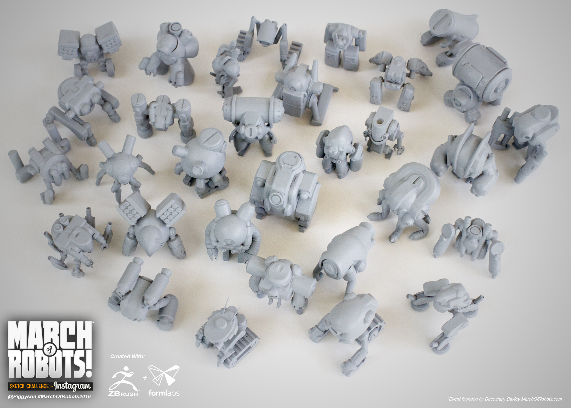 Group shot of all 31 printed robots.