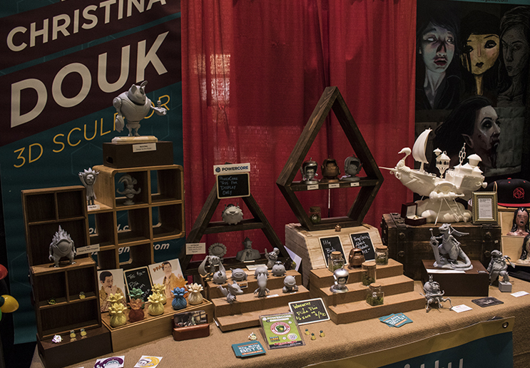 3D modeler and 3D print artist  Christina Douk  had an impressive display of custom 3D printed and casted figurines for sale.