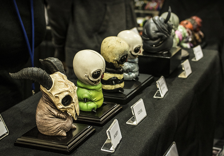 Dominic Qwek displays his adorable yet grotesque lineup from his  Creepy Hill  line. Designs by Catherine Peng.