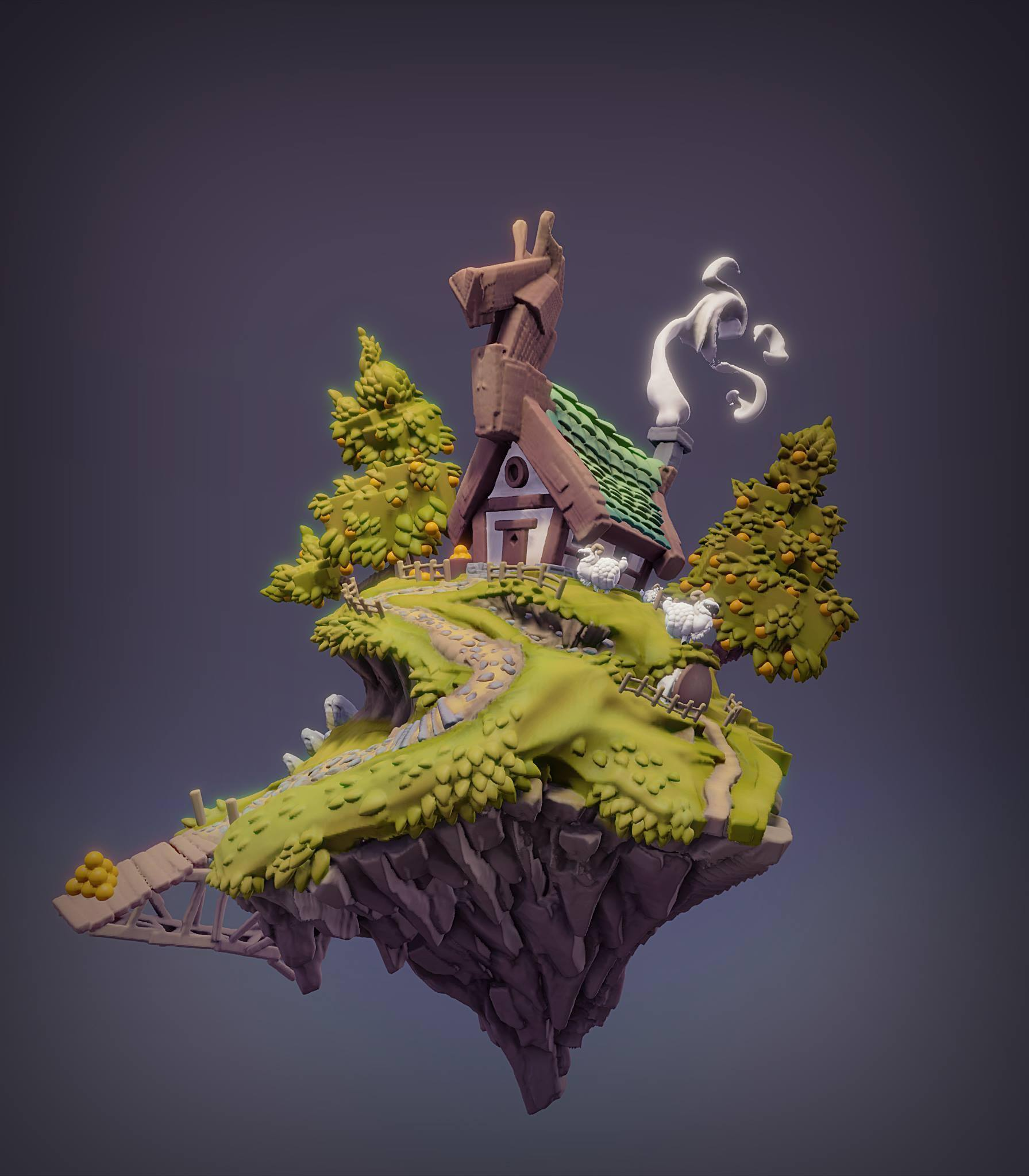Hut on the Hill by Robin Brook. Created in Oculus Medium.
