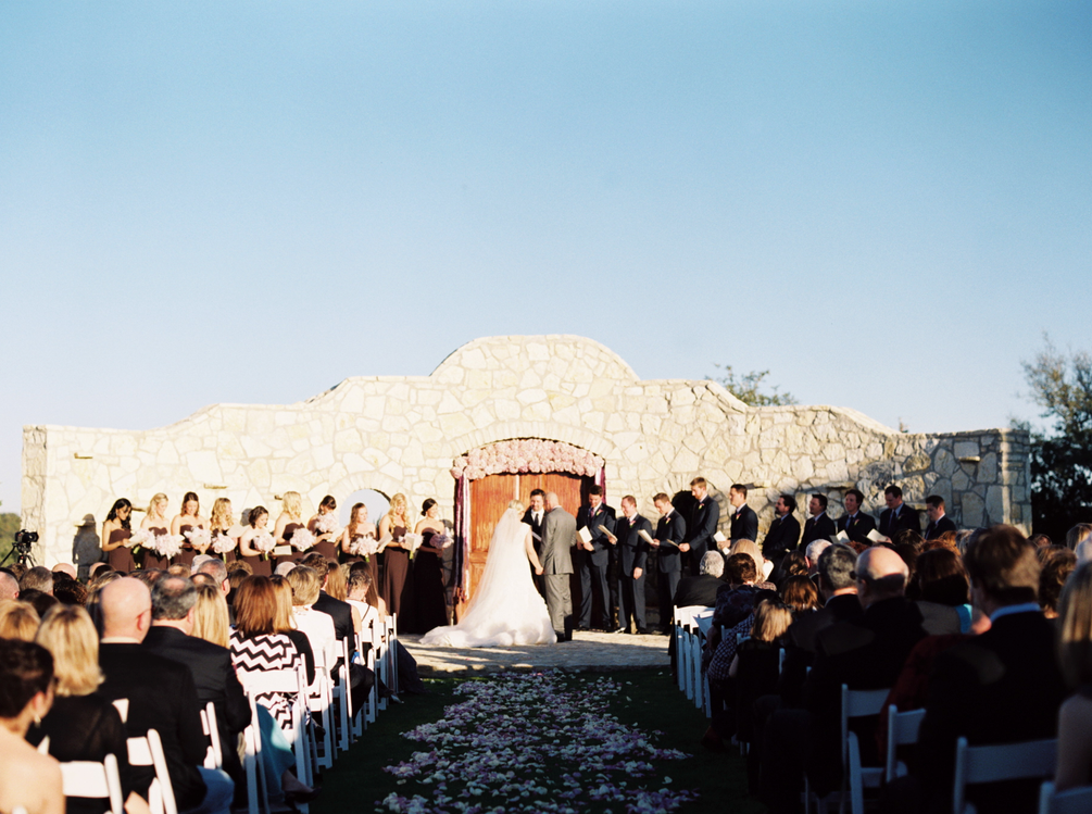 Sun facing bride and groom