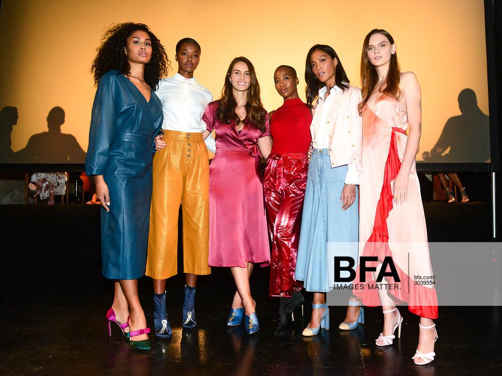 Marija Abney with designer Chloe Gosselin and models at the Chloe Gosselin presentation