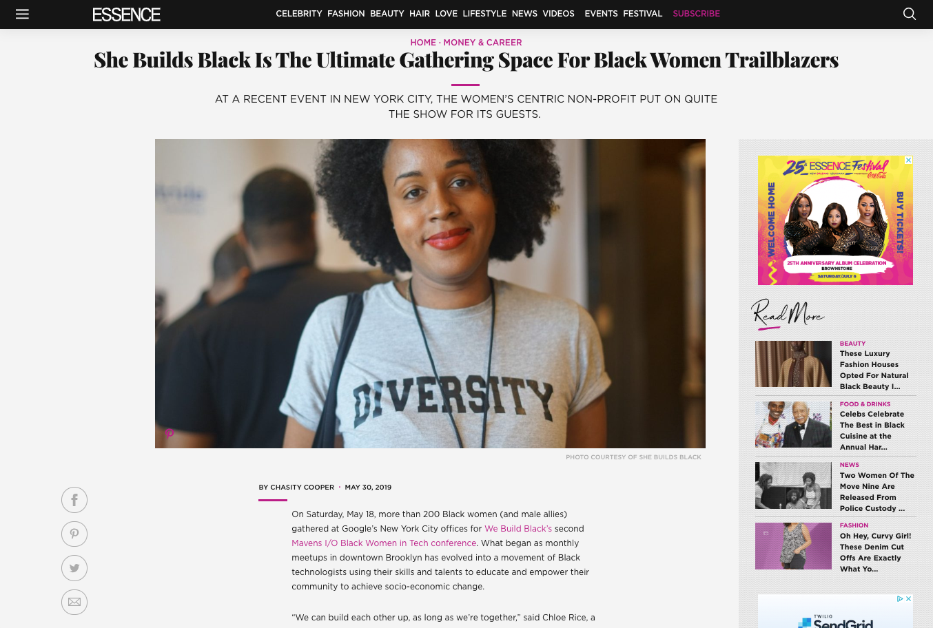 She Builds Black feature on Essence.com
