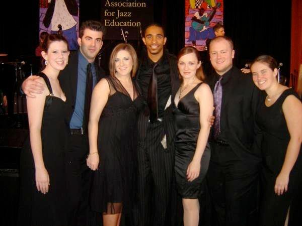 "An oldie but goodie. My first vocal jazz group C-Sus circa '05,  in NYC after winning the Downbeat Award for ""Best Collegiate Vocal Jazz Ensemble in the United States and Canada."""