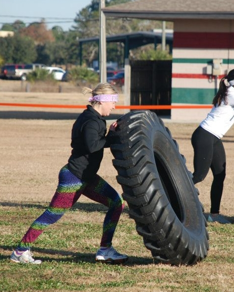 Birthday girl Courtney flipping tires and taking names