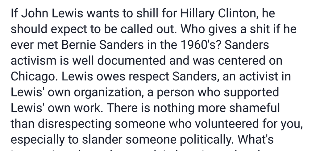 Self-proclaimed liberal telling a Civil Rights legend he owes Sanders his respect