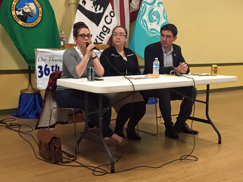 Hanna Brooks Olsen, Mercedes Elizalde, and me, presenting before the 36th District Democrats (photo credit: Josh Castle)