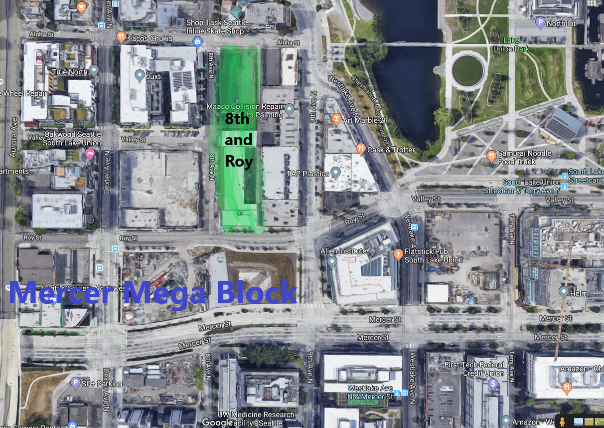 Fun with MS Paint! 8th and Roy, just north of the Mega Block, and ready to be redeveloped!