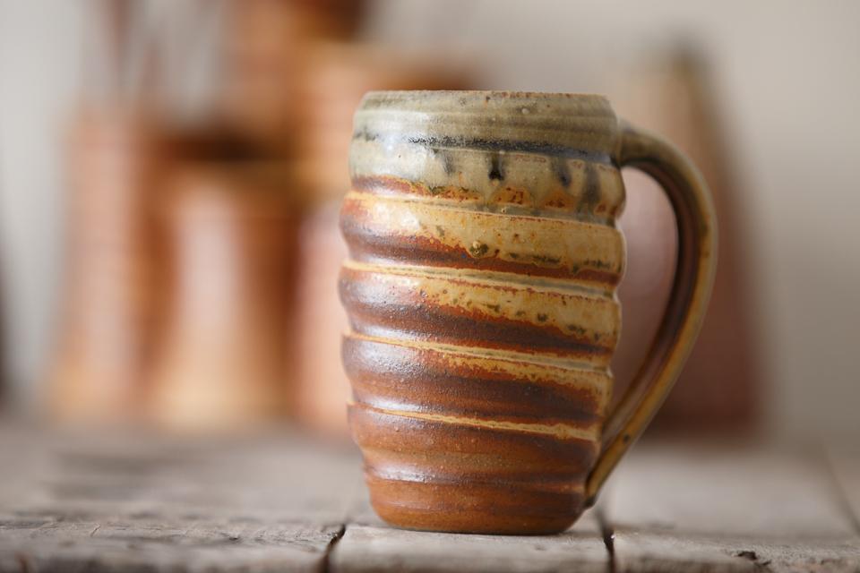 Swirl Mug, 16 oz. in the Green/Ash glaze.