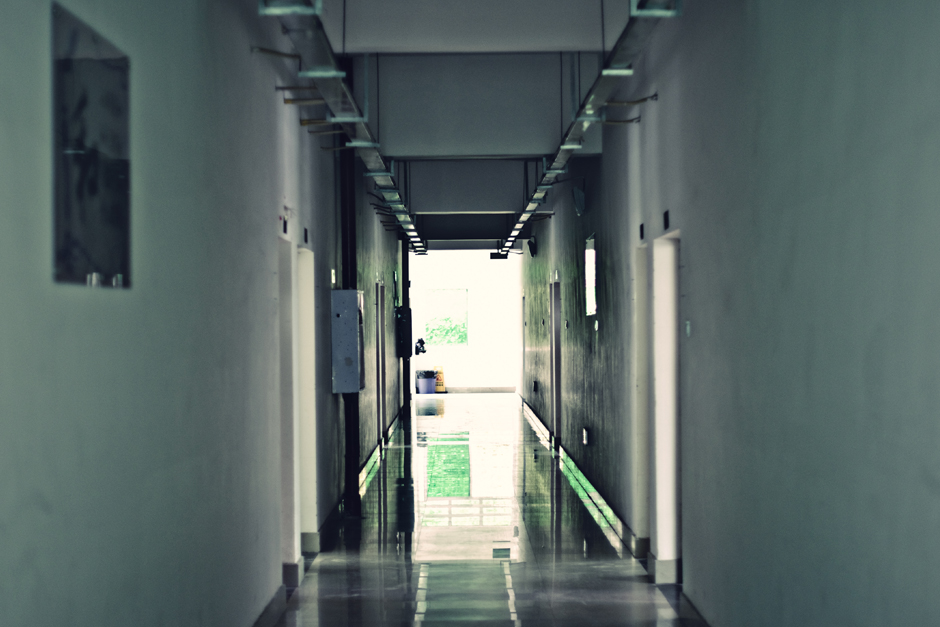 Chongqing , China . An empty hallway at Chongqing Normal University.