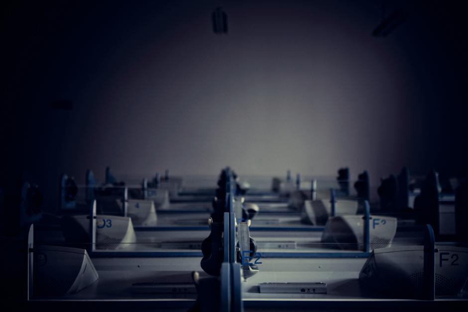 Chongqing , China . An empty language classroom at Chongqing Normal University.