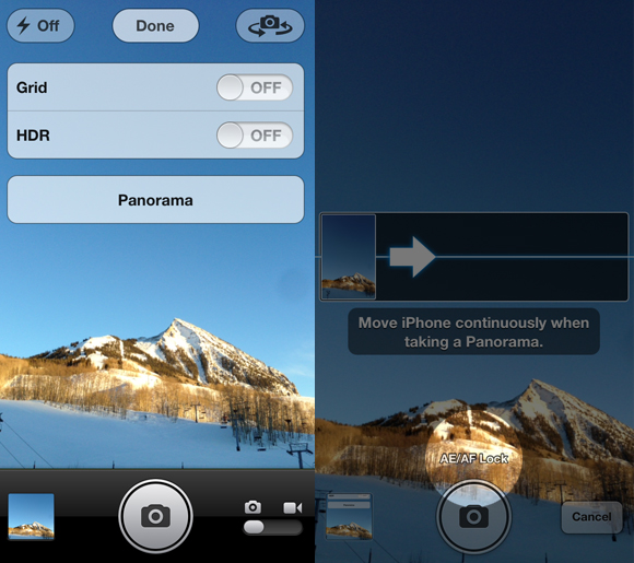 select 'Panorama' from the options menu, then lock your focus point on your subject