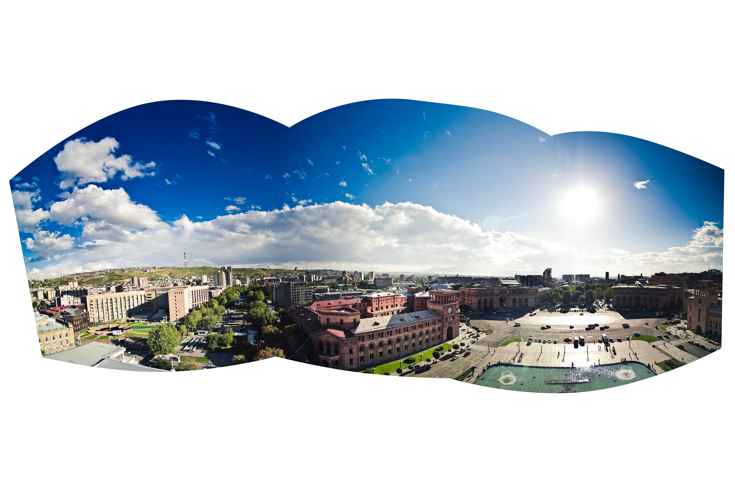 The view of Republic Square from the roof of the National Gallery of Armenia.