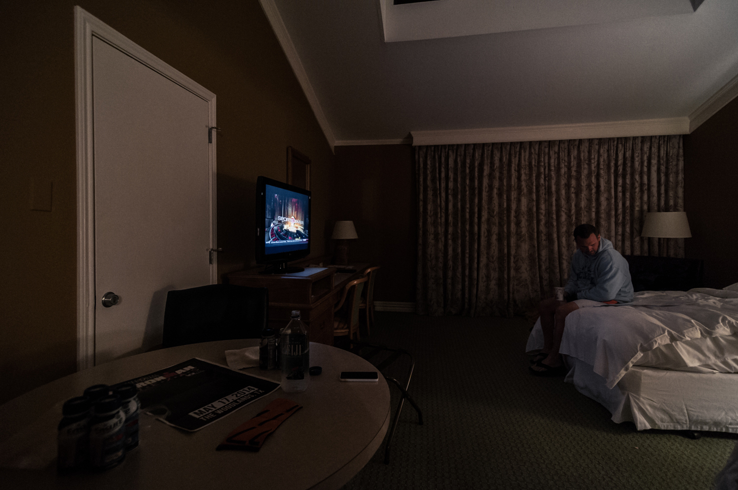Jason Blakely reads over his race notes on the morning of his first Ironman