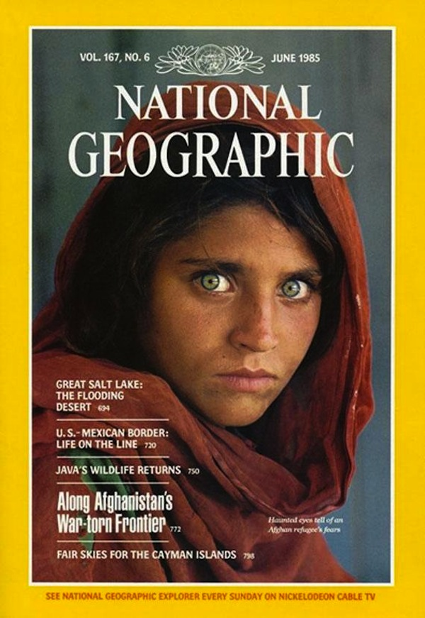 The Afghan Girl on the cover of National Geographic.Photo by Steve McCurry.