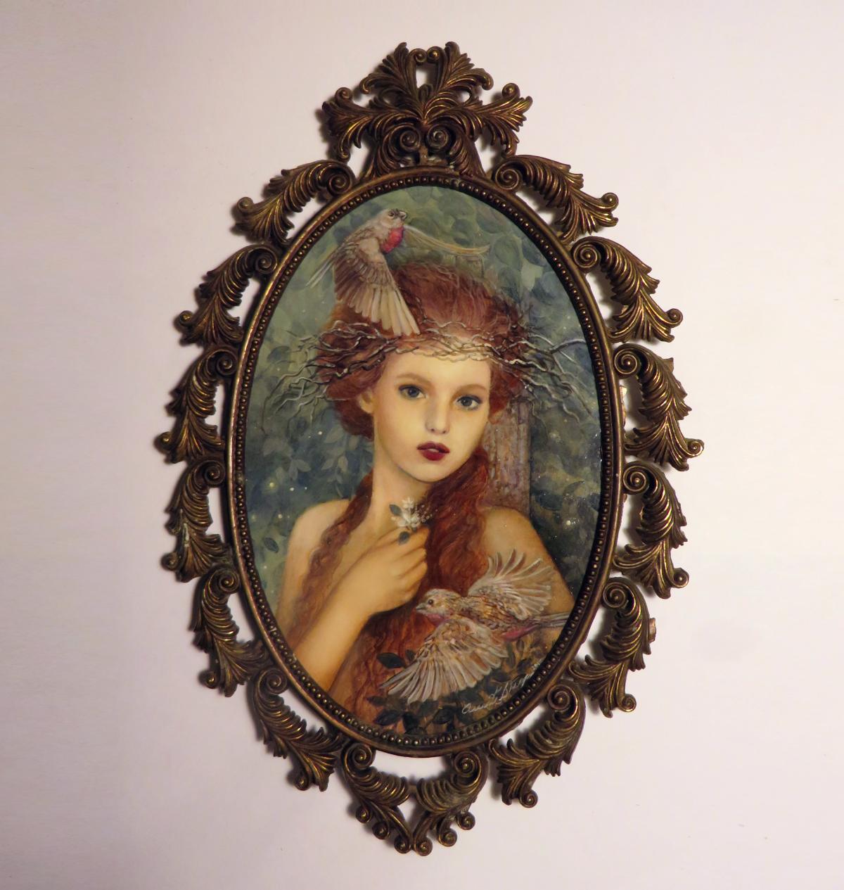 """Ptelea"" the nymph of the European elm    Annie Stegg Gerard   4""x6""  oil on Strathmore series 500"