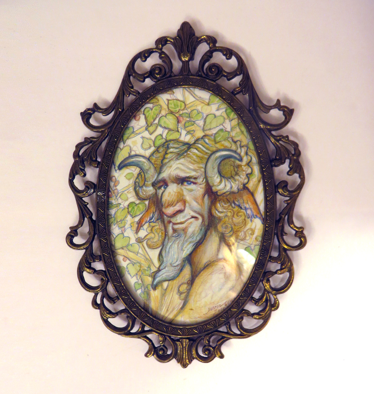 """""""Faun of Ptelea"""" the faun of the European elm    Justin Gerard   4""""x6""""  watercolor on Strathmore series 500    *  framed under vintage bubble glass"""