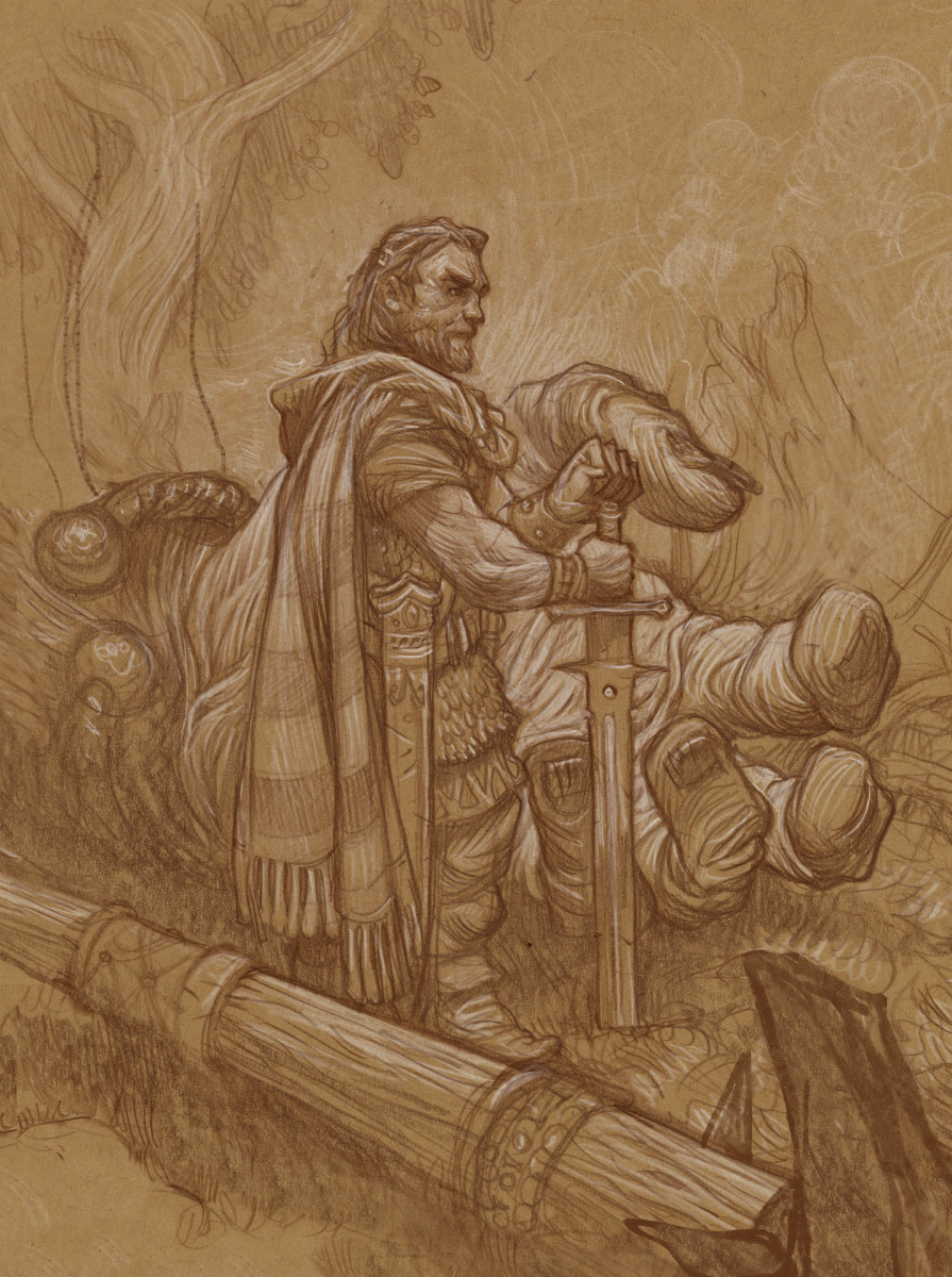"""The Last of His Kind""  Drawing on toned paper."