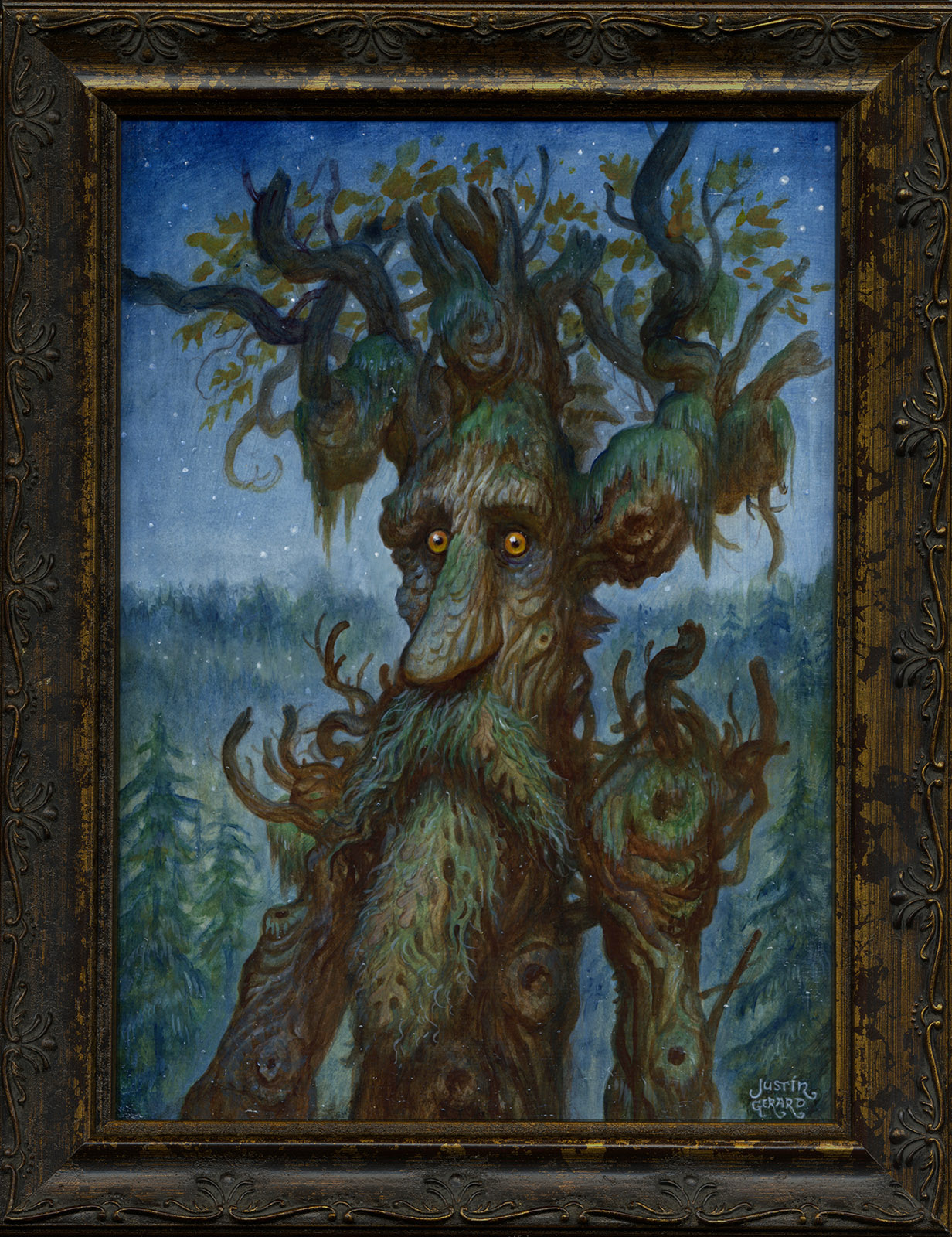 """Treebeard"", Justin Gerard, 11x14, oil on board, October 2016"