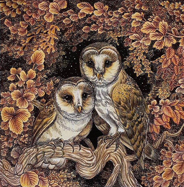 """I chose this because of its beautiful autumnal tones. I love how the leaves have retained all the details. The owls and branch have also been coloured with such attention to detail. Overall this picture has a beautiful warm feeling to it."" -Nikki Hodges"