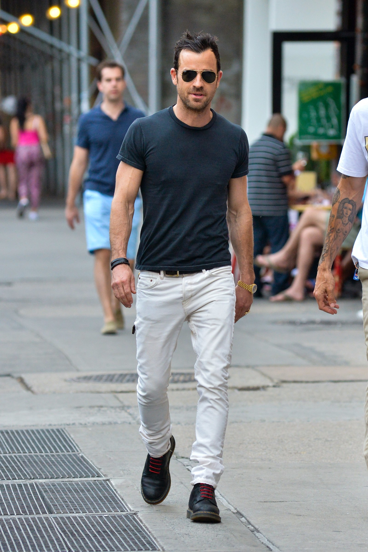 Justin Theroux white jeans denim menswear men