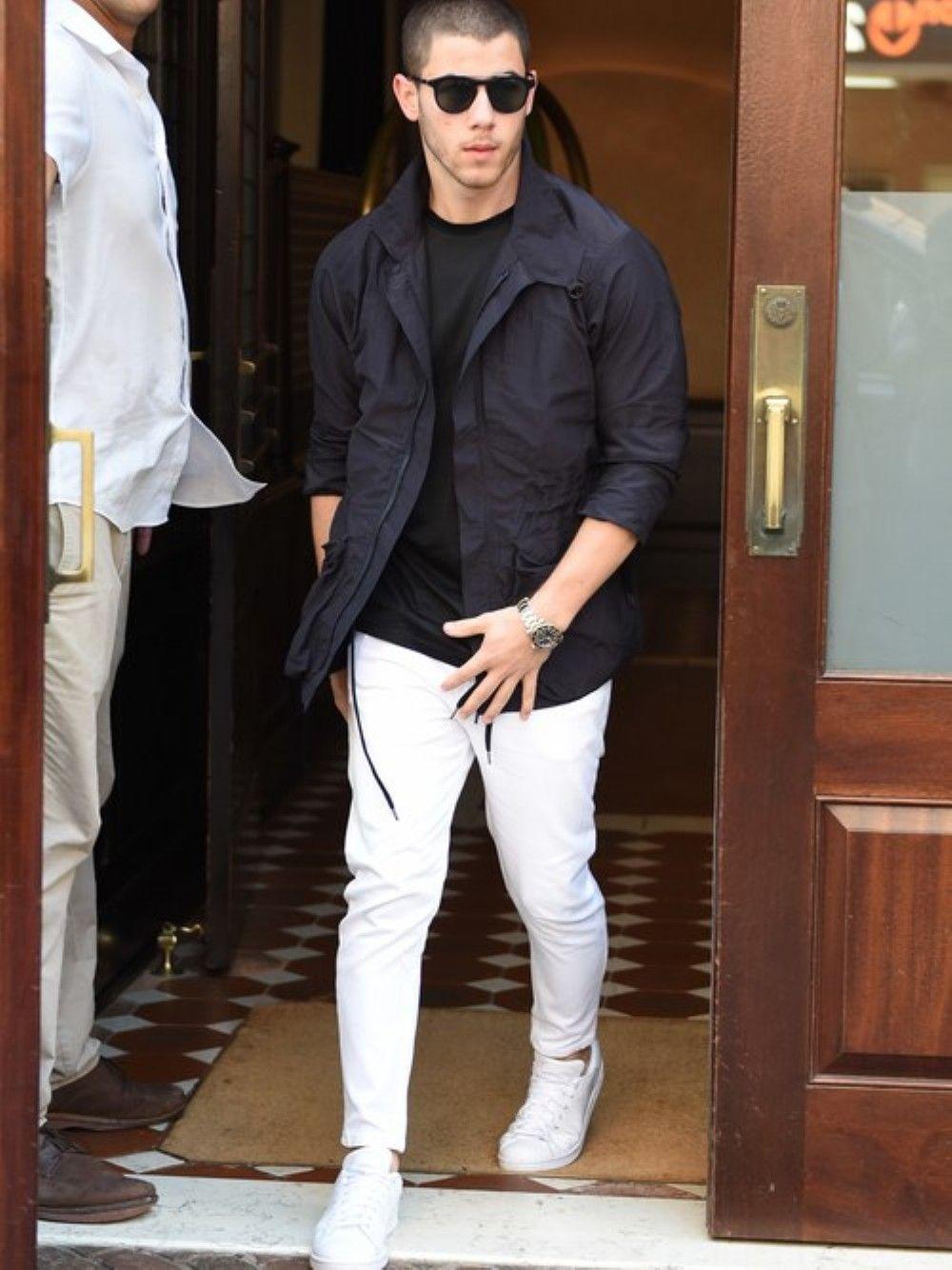 Nick Jonas fashion style white denim jeans menswear