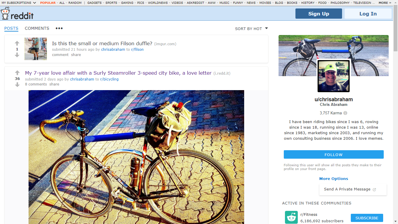 "Reddit just offered me the ability to have a lovely twitter-like new profile page with profile image and header photo. This started rolling out 5-months ago. I have been on reddit for over 11-years and it's taken 5-months to receive this ""post-to-profile"" experience. I had spent two days writing a blog post love letter to my 7-year old bike over the weekend and ended up sharing that love with the /r/bicycling/ sub on reddit. While there, reddit offered me a new user experience and user page, /u/chrisabraham/.  Unlike before, where you would have to take your chances posting your links and content to a proper subreddit, you can now post whenever you want to on your own profile page.  Those profile posts will be combined with your other submissions to create something more akin to the love child of Facebook, Twitter, digg, and del.icio.us.  So, in digg or Delicious, you can submit your own links or content to your own profile and other people are welcome to comment or upvote (or downvote) but they're not allowed to drum you out of the corps because you're only sharing–or shilling–on your own space.  I personally have no clue as to if this personal profile space will will have any effect on organic SEO, but it does look like something very worthwhile experimenting on. Here's what the entire experience looks like when I come upon my own page:  New Reddit User Profile Page and Moderator Tools Here's what I see when I am logged in and on my user page, /u/chrisabraham/ And here's what the profile page looks like when I am not logged in — so, the page is public to anyone, which is cool:  Chris Abraham user profile page on reddit Here's what my reddit profile page looks like when I am not logged in. I am not 100% certain if this means that these pages are SEO friendly enough to really benefit from the inbound links coming in from sharing your own marketing blog or business blog content on your own profile page; however, I come from the school that crossposting all my content over all the blogging and sharing platforms does much more good than harm (why aren't you already cross-posting all your evergreen posts on Medium? SEO be damned! & cross-post all your best stuff to Medium, SEO be damned!), so sharing all your content on your own personal redditor profile page should indeed become a habit you should add to your promotion schedule as soon as you're offered an enhanced reddit personal profile page (who knows how many more months it'll take before the powers-that-be allow everyone to have one–maybe I am not the very last person to have one).  You can now avoid reddit's 800-pound gorilla and elephant in the room iI'm no expert but reddit is the elephant in the room of social media marketing. As a marketer, I am scared of reddit as reddit is the 800-pound Gorilla in the room. But I have been a member of reddit for such a long time and have yet to get kicked off, thank you reddit gods.  The only time I have ever succeeded in leveraging reddit towards readers, hits, and visitors en masse is when I actually put down my guns-a-blazin' and got real with on the subreddits (or, subs, colloquially) I frequented, and then shared my personal blog posts directly there.  Two cases in point are becoming a reddit Internet sensation which was based on In praise of being dead last in a race. The other, just the other day, was my 7-year love affair with a Surly Steamroller 3-speed city bike, a love letter which linked to my 7-year love affair with a Surly Steamroller.  So, in each instance, I have let months and months pass between content that I consider interesting enough to even consider cross-posting and sharing on reddit. Now, I can cross-post and share any and all content I want without needing to worry about the typical blowback indicative of being perceived of shilling at all on reddit's proper subs.  So, if you haven't explored reddit recently, it's worth a visit. Good luck and let me know what you discover!"