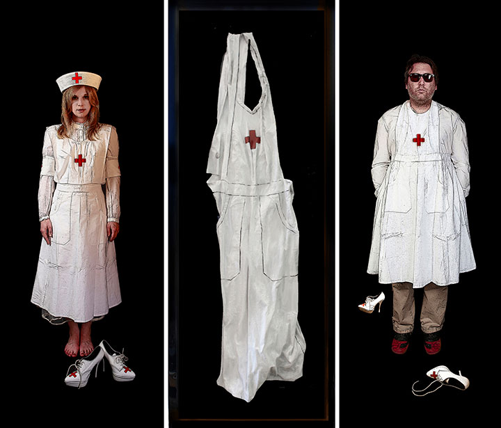 """The Nurse, 2013, Mixed Media on 3 panels, 57.5"""" X 63.5""""from """"EVIDENCE"""""""