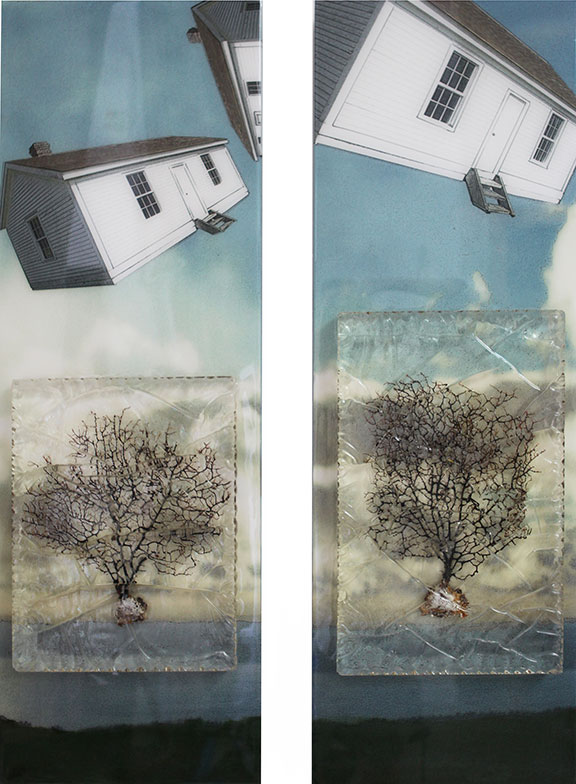 """Wind I and II, 2013, Mixed Media on panel, 36"""" X 12"""" each (sold individually)from """"EVIDENCE"""" (Wind I sold)"""