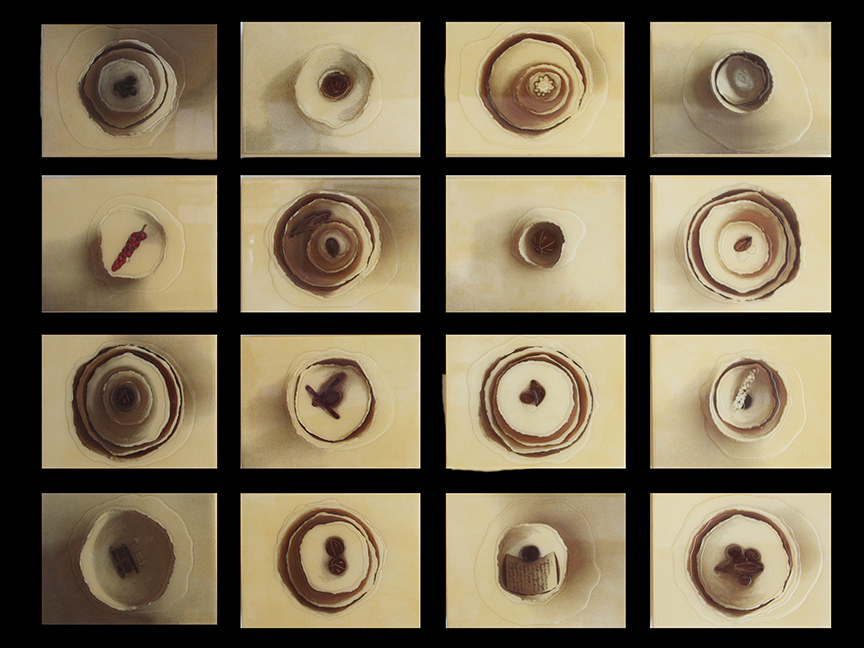 "The Bowls Installation, 2013, 16 - 9"" X 12"" panels"