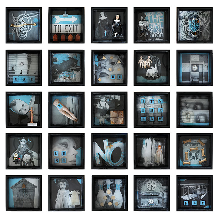 """Evidence Installationfrom """"EVIDENCE"""" Series, 2013, Mixed Media on 25 - 12"""" X 12"""" panels with embedded objects (14 are sold)"""