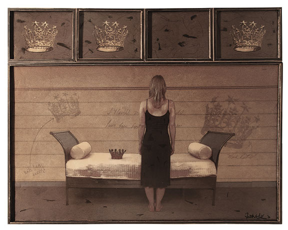 "The Crown, 2012, Mixed Media on 5 Panes. 48"" X 60"" from the series ""NOTES TO SELF"""