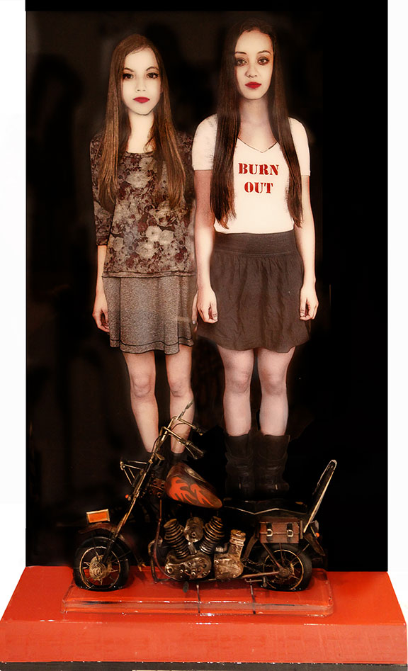 """Burn Out, 2013, 38.5""""x24""""x8"""", Mixed Media/Resin with attached shelf and Vintage clycle, (Nicole and Sarah)"""