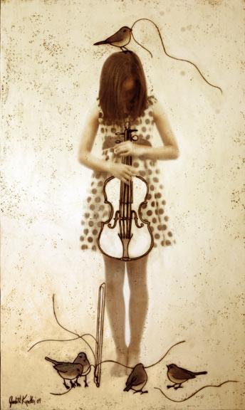 "Child with Violin, 2009, 60"" X 36"", Mixed Media/Encaustic (Sarah) (sold)"