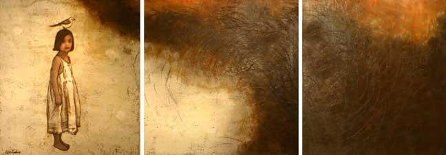 "Contemplation, 2005, 36"" X 120"", Mixed Media/Encaustic (Sarah) (sold)"