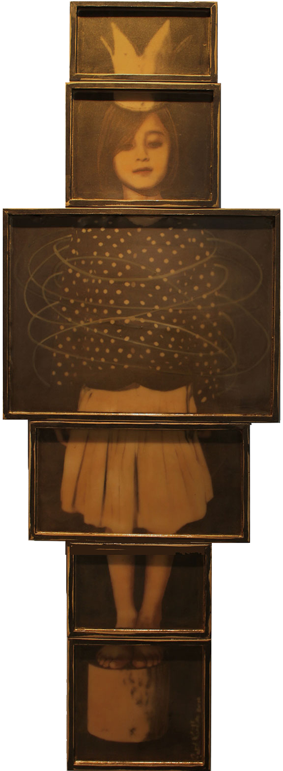 """Crowned Girl, 6 panels, 2012, 72""""x25"""", Mixed Media/Rubber (Samantha) (sold)"""