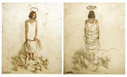"""Saints I and II, 2010, 36""""x30"""",   Mixed Media/Encaustics   (Simone) (sold)"""