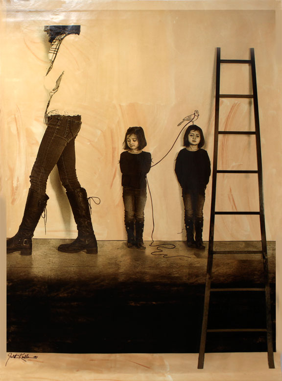 """Watching Her, 2011, 72""""x60"""", Mixed Media/Canvas (Simone and Samantha)"""