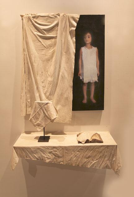 "Veiled I Installation, 2011, 42"" X 32"" X 5"" painting, 36"" X 12"" X 13"" shelf + objects, Mixed Media/Resin (Samantha) (sold)"